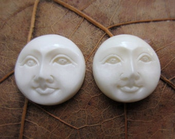 SALE 15% off Excellent Pair 15mm face cabochon, Moon cabochon, Carved moon face, Embellishment, Jewelry making Supplies S3925