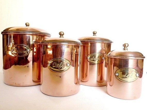copper canisters housewares kitchen decor