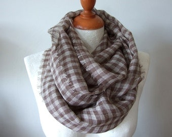 Linen gauze infinity scarf, coffee beige & brown linen summer scarf,  cappuccino check scarf,  gift under 25 dollars, lightweight scarf