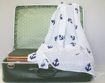 Cotton Muslin Anchor and Polka Dot Swaddle Blanket