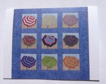 Set of 10 Beach Umbrellas #1 note cards (folded)