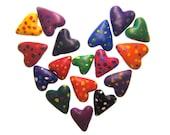 Confetti Hearts handmade polymer clay beads stones confetti colors rainbow party love