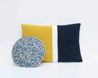 MINI round cushion - navy floral with silver trim