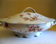 Casserole Antique M Z Austria Covered Serving Dish Floral Roses and Fern c. 1900s