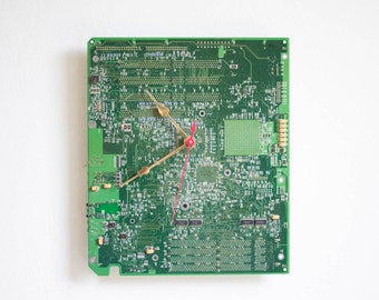 Geeky Wall clock - recycled Computer - green circuit board - ready to ship c5839