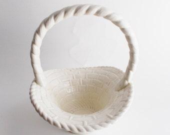 Vintage Basket White Ceramic Easter Decor Woven Glazed Retro Basket