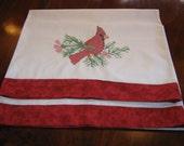 Christmas Redbird hand embroidered pillowcases set of 2