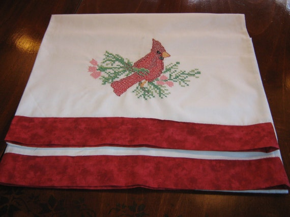 Christmas Redbird hand embroidered pillowcases set of 2