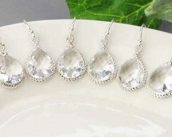 Crystal Bridesmaid Earrings Set -10% OFF SET OF 5 - Crystal Bridesmaid Jewelry Set - Wedding Jewelry Set - Silver Crystal Drop Earrings