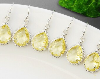 Bridesmaid Jewelry Set - 15% OFF Citrine Bridesmaid Earrings SET OF 8 Pairs - Silver Yellow Glass Drop Earrings - Wedding - Bridal Jewelry