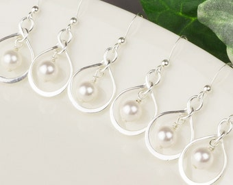 Pearl Bridesmaids Jewelry SET OF 6 Bridesmaid Earrings - 15% OFF - White Swarovski Pearl Drop Earrings - Sterling Silver Infinity Earrings