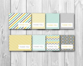 Thank you card, thank you cards bundle, yellow and gray, baby shower, instant download, printables