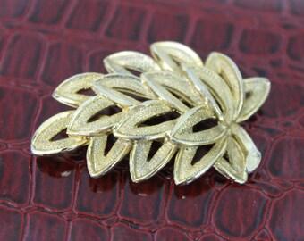 Vintage Gold Tone Brooch Leaf