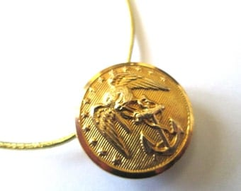 MARINE CORPS antique vintage button pendant. USMC uniform button. Show your support