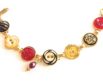USC TROJANS Water Polo antique button bracelet, scarlet and gold.