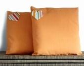 Orange pillows, heart decoration, 16x16, cushion covers