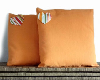Orange pillows, heart decoration, 16x16, cushion covers