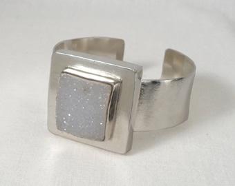 sterling silver cuff bracelet, druzy agate stone