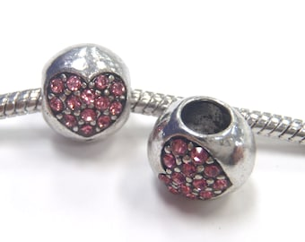 1 Bead - Pink Rhinestone Heart Valentines Silver European Bead Charm E1095