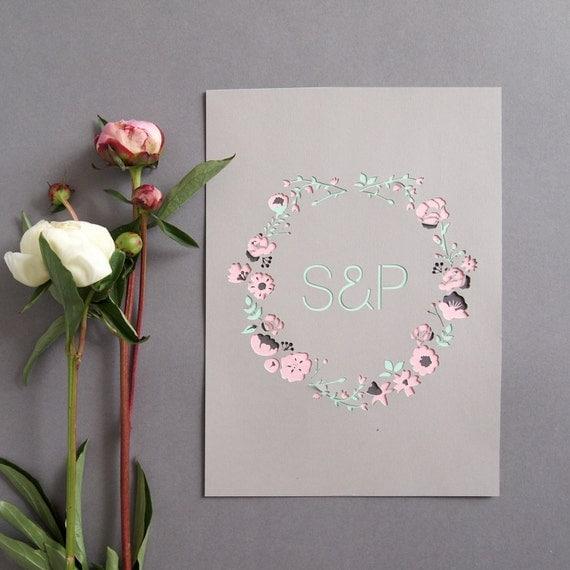 Personalised Botanical Initials Papercut