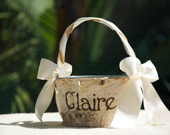 Personalized Shabby Chic - Rustic - Birch Bark Flower Girl Basket - Ivory/Cream/Natural/Earthy Birch Engraved/Burned flower girl basket