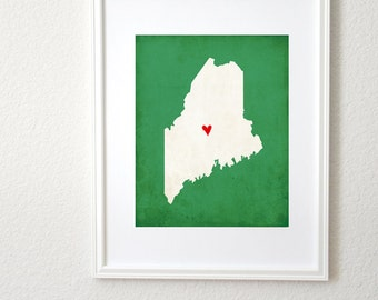 Maine Silhouette Map State Personalized Art Print