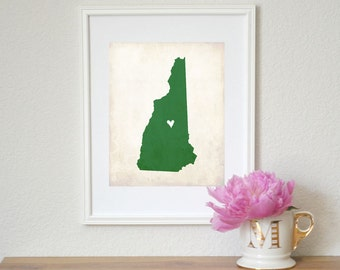 New Hampshire Love State Map Customizable Art 8x10 Print.