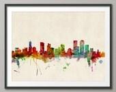 Denver Skyline, Denver Colorado Cityscape Art Print (534)