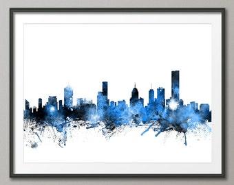 Melbourne Skyline, Melbourne Australia Cityscape Art Print (1120)