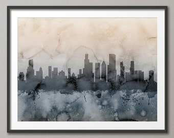 Chicago Skyline, Chicago Illinois Cityscape Art Print (1248)