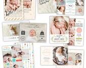 INSTANT DOWNLOAD - Photoshop Birth announcement templates bundle -  e1057