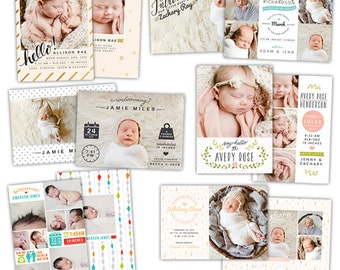INSTANT DOWNLOAD - Photoshop Birth announcement templates bundle -  e1057
