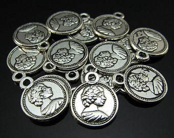 12 Coin Charms Double Sided Antique Silver 15 x 12 mm  U.S. seller  ts677