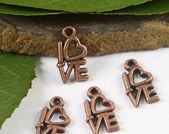 10 Love Charms Antique Copper Tone 14 x 8 mm - cc044