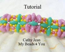 Beading Pattern,Jewelry Making Pattern, Beadweaving Tutorial, Pattern, pdf,Seed Bead Tutorial, Beading Instructions, SuperDuo Tutorial