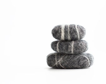 Set of three wool needle felted stones, contemporary home decoration