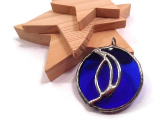 Stain Glass Jewelry Blue Glass Pendant Handmade Jewelry Silver Leaf Blue Glass Necklace Leaf Jewelry Glass and Metal Jewelry Blue Jewelry