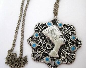 Nefertiti Necklace - Egyptian Pendant - Long Silver Tone Chain