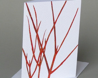 Red Twig Dogwood: A nature inspired blank notecard, Vermont, winter