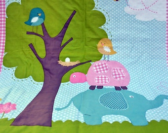 White Minky baby blanket, Quilted toddler blanket, travel blanket, baby blanket with elephants and birds