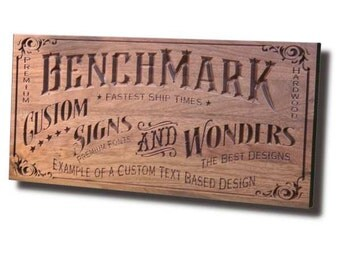 Custom Sign: Carved Wooden Sign for Custom Text Design Benchmark Signs Walnut CT
