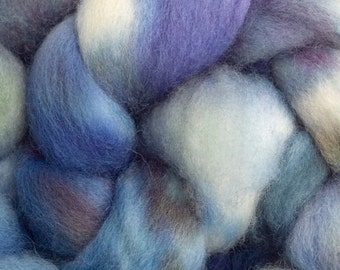 Hand Dyed BFL combed top, 4oz. in Cool Blue