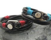 FREE SHIPPING Anniversary Gift,Men-Women leather bracelet. Brown leather multi strand bracelet with  silver plated clasp