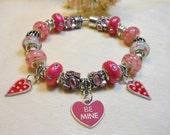 Valentine's Day Bracelet, European Style  Bracelet, Pink Candy Heart Bracelet, Gifts for Her, Valentine's Day Fun