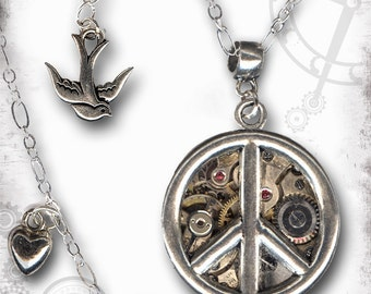 Peace Sign Steampunk Silver Necklace - The Mystic Seeker Collection by Za Dee Da - A Time for Peace