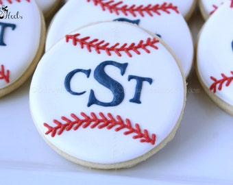 Monogram Baseball Decorated Cookies, Baseball Cookies, Monogram Cookies, Boys Birthday Cookies, Baseball, Decorated cookies