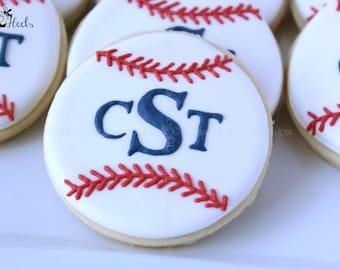 Monogram Baseball Decorated Cookies, Baseball Cookies, Monogram Cookies, Boys Birthday Cookies, Baseball, Decorated cookies