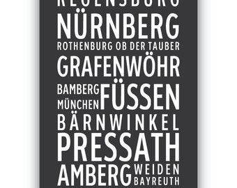 GERMAN LANDMARKS -- Typography Poster Print, destinations, points of interest in Germany