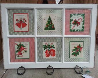 Upcycled Vintage Christmas Card Window