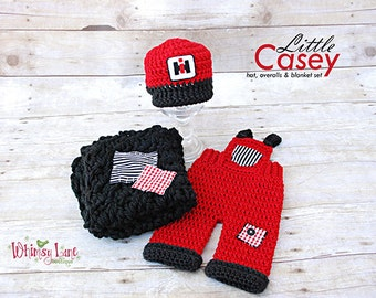 Newborn Backward Baseball Hat, Overalls, Layering Blanket-Little Casey - Baby Boy-Photo Prop-Case Tractors